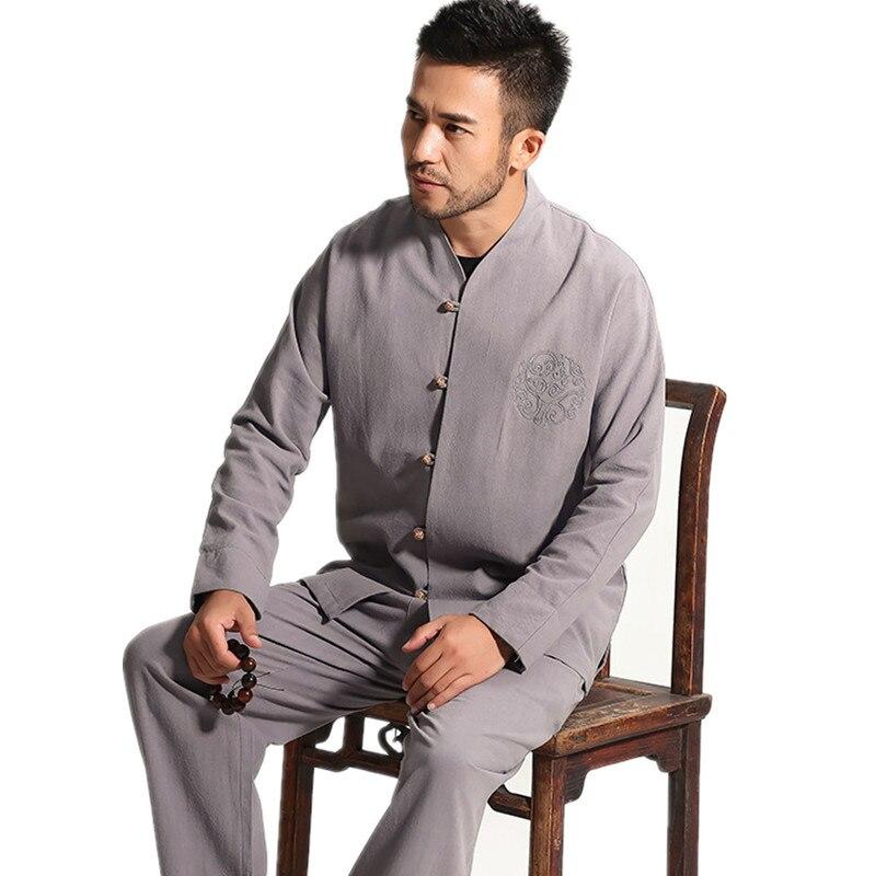 High Quality Gray Chinese Men's Cotton Kung Fu Suit Solid Color Wu Shu Sets Shirt&Pant Uniform S M L XL XXL XXXL
