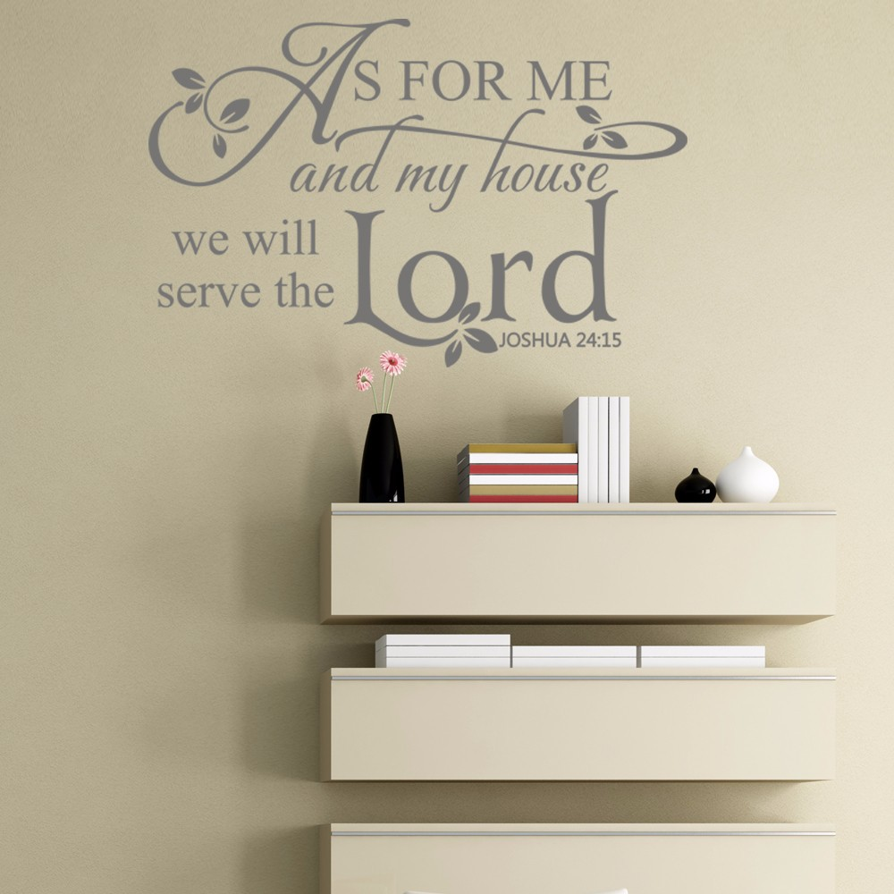 Joshua 24:15 Scripture Wall Decals As For Me And My House,we Will Serve The  Lord Bible Verse Vinyl Decal 86.36cm X 55.88cm In Wall Stickers From Home  ...