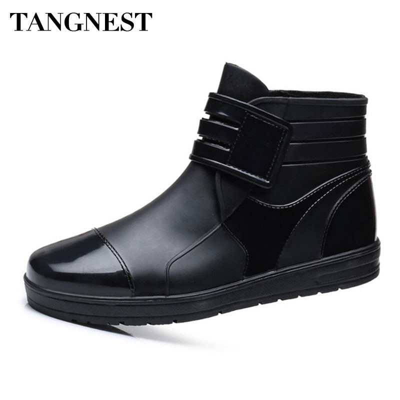 Tangnest Summer Men PVC Ankle Boots NEW 2018 Casual Hook Loop Rain Boots For Male Waterproof Outdoor Flats Shoes Black