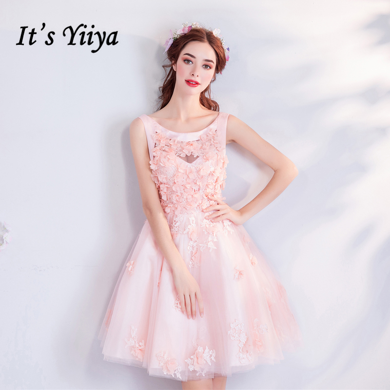 It's YiiYa Pink   Cocktail     Dresses   O-neck Lace Flowers Short Party   Dress   Lace up 2018 New Sex Above Knew Formal   Dress   LX824