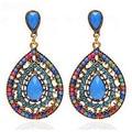 Fashion Vintage Bohemia Drop Shape Earring Multicolor Resin Beads Earrings Dangle Earrings Statement Ethnic Jewelry