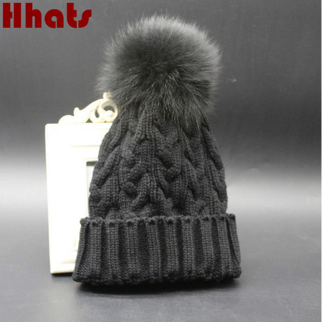 Which in shower faux fur pom pom knitted cable winter hat for women fur  pompom female beanies brand warm lady girl skullies cap 5f149975cf5