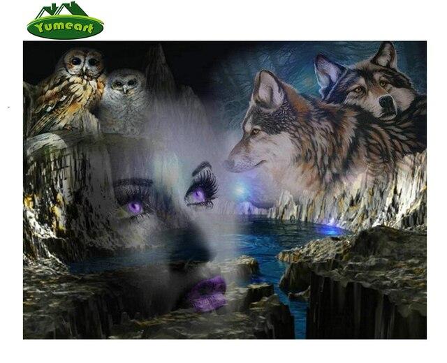 DIY Diamant borduurwerk meisje wolf icoon 5d diamant schilderen kruissteek uil diamond mozaïek koop schilderen steentjes Home decor