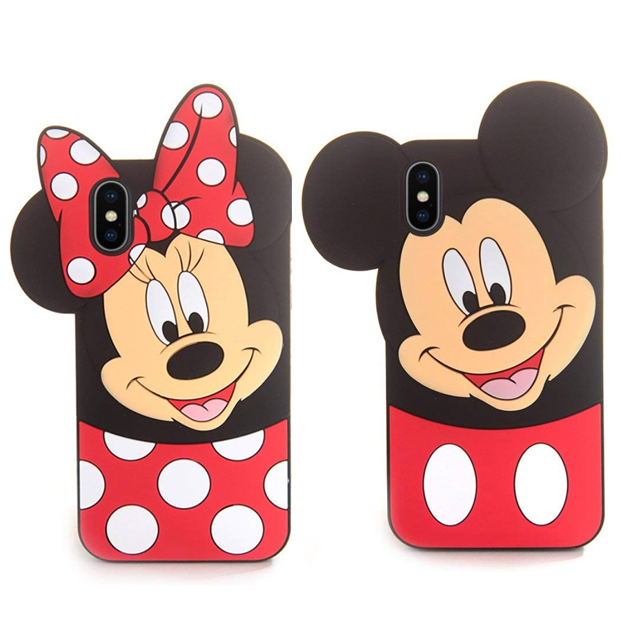 Cute Cartoon 3D <font><b>Mickey</b></font> Minnie Phone Case for <font><b>iPhone</b></font> <font><b>6</b></font> 6s 7 8 Plus X XR XS Max Soft Silicone Rubber Cover Casing Funda <font><b>Coque</b></font> image