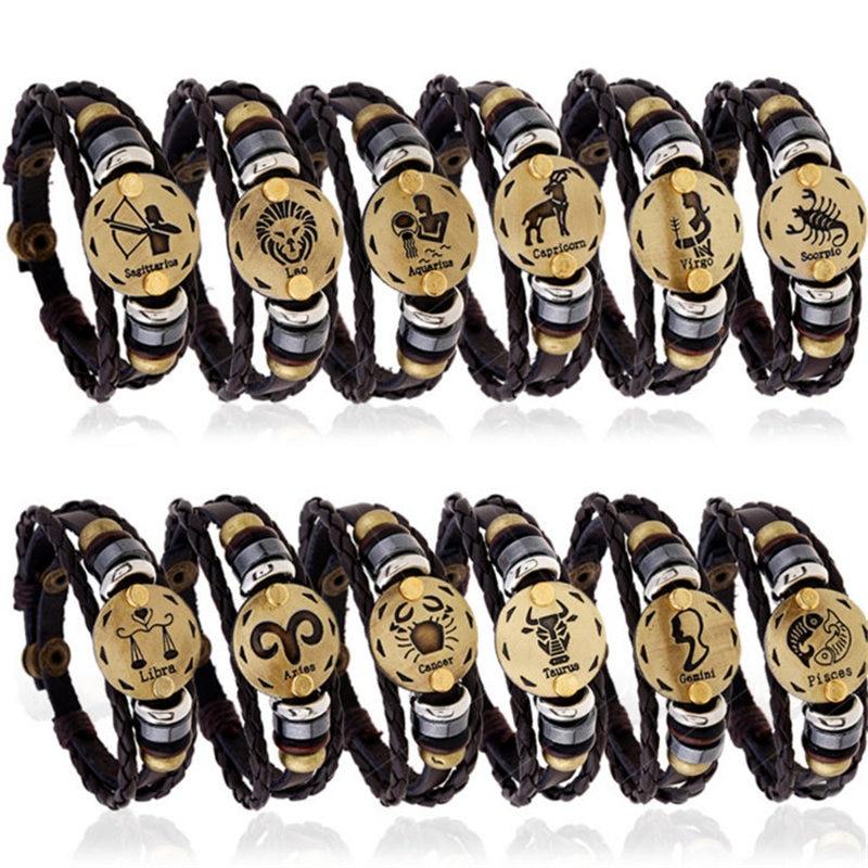 Fashion Bronze Alloy Buckles 12 Zodiac Signs Bracelet Punk Leather Bracelet Wooden Bead Black Gallstone For Men Charm Jewelry