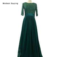 Real Emerald Green Elegant OV Neck A Line Lace Evening Dresses 2017 With 3 4 Sleeves