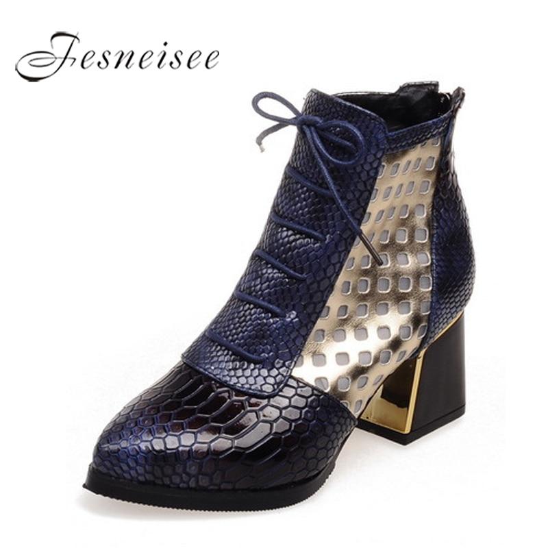 FESNEISEE Модные ботильоны поперечной шнуровкой, обувь со змеиным принтом Полусапожки на высоком широком каблуке Острый носок осенние сапоги З...