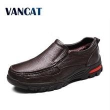 VANCAT Cuero Genuino del Negocio de Los Hombres Zapatos Tamaño 38-48 Moda Hecha A Mano de Los Hombres de Los Planos Formales de Alta Calidad Mocasines Masculinos botas para la nieve