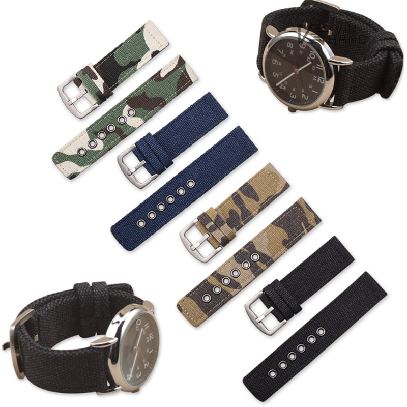 Camouflage canvas Watch Band Strap Nylon Mesh NATO Watchbands Zulu Strap Stainless Steel Ring Buckle Replace 18mm 20mm 22mm 24mm wholesale suunto core nylon diver strap band kit w lugs adapters armygreen 5 colours 24mm zulu nato watchbands