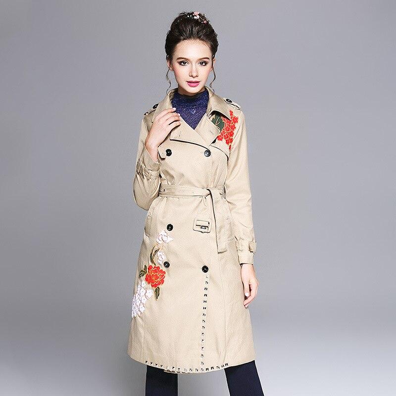 L Taille Hiver Aofuli 2017 W Plus La Double Floral Manteau 5xl Broderie 4xl Longue Tranchée Automne Boutonnage À Femmes ceinture Rivet Outwear dSSUwqrXn