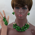 Green African Coral Beads Pendant Necklace Set Mix Crystal Coral Bib Jewelry Set Gold Plated Free Shipping CNR787
