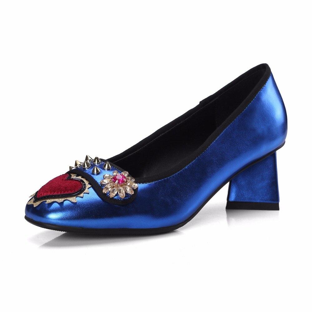 Amor Mujer blue Remaches Silver Spicked Jawakye Tachonado Rhinestone Bombas Plata Primavera Corazón Cristal Pista Med Mujeres Tacones Zapatos Azul wv7BaqA