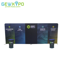 20ft 8ft Advertising Tube Display Straight Tension Fabric Exhibition Flat Backwall With Two Portable Podium Oval