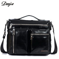 DANJUE Genuine Leather Trendy Shoulder Bag For Men High Quality City Leather Crossbody Bag Male Leisure Zipper Tote 2018 New