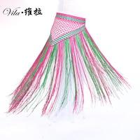Nuovo arrivo 13 Colori Danza Del Ventre Accessori Elastico Lungo Nappa Cintura Triangolo Crochet della Mano Danza Del Ventre Hip Sciarpa