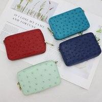 Luxury Ostrich skin women coin purse small organizer bag genuine ostrich leather ladies lipstick case