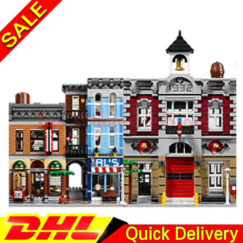 Lepin 15004 Fire Brigade +Lepin 15011 The Detective's Office Model Building Street Sight Blocks Bricks lepins Toy 10197 10246 a toy a dream lepin 15008 2462pcs city street creator green grocer model building kits blocks bricks compatible 10185