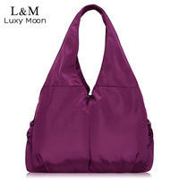 2016 Casual Fashion Women Big Capacity Handbag Waterproof Nylon Purple Shoulder Bags Famous Designer Hot Sale