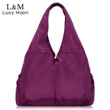 Bolso de las mujeres Bolsa Grande de Hombro Ocasional de Nylon Tote Famosa Marca Púrpura Bolsos de La Momia Bolsas de Pañales Impermeables bolsas Negro XA287H