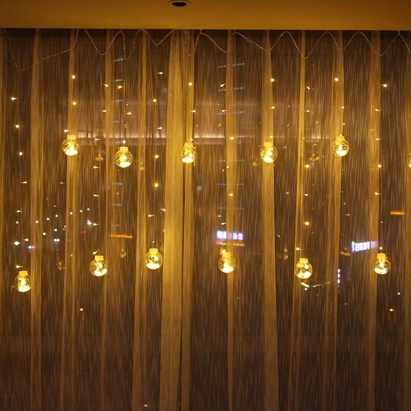 JSEX LED boule éclairage chaîne Cutains lumières 2.5m blanc/rvb vacances éclairage fée lumières étanche noël garlanddécoration