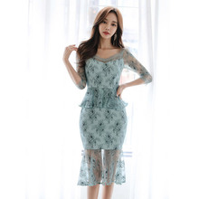 2019 Summer Floral Bodycon Dress Women Half Sleeve Trumpet Bandage Ruffles Lace Patchwork Casual for
