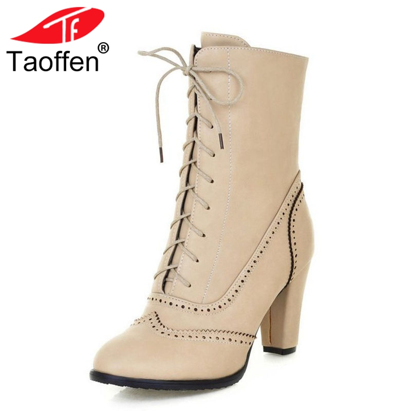 TAOFFEN Large Size 33-43 British Style Platform Women Brogue Shoes Wpomen Fashion High Heel Lace Up Mid-Calf Boots Autumn Winter цена