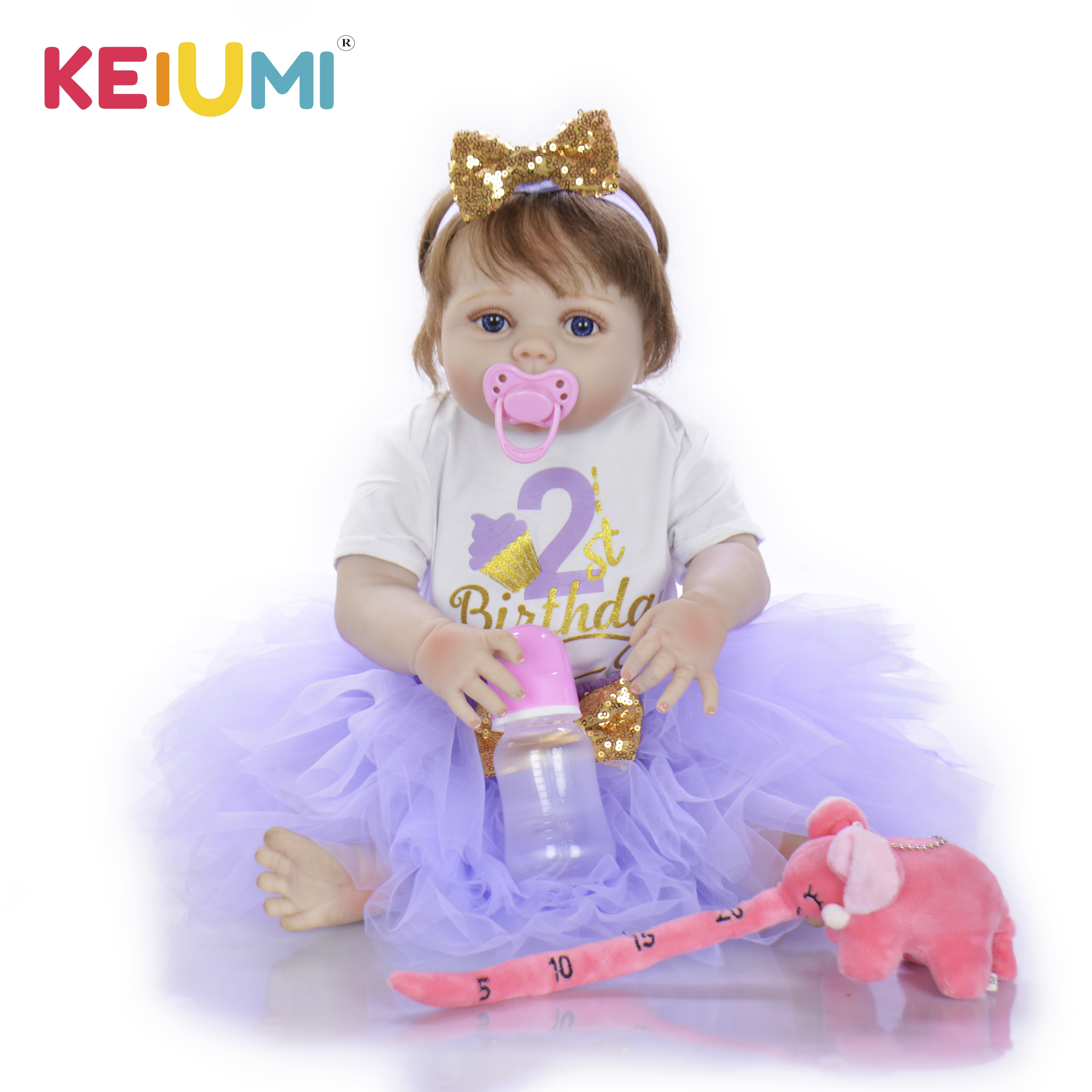 23 Inch Handmade Reborn Baby Doll Full Body Silicone Lifelike Princess Girl Babies Toy For Kids