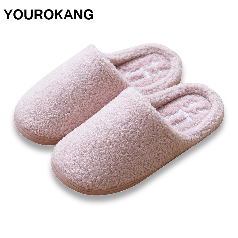YOUROKANG Winter Plush Warm Shoes Women Home Slippers Flock Furry Cotton Shoes Indoor Bedroom House Slipper Fashion Antiskid whoholl winter home slipper man despicable me minions indoor slippers plush stuffed funny slippers flock cosplay house shoes