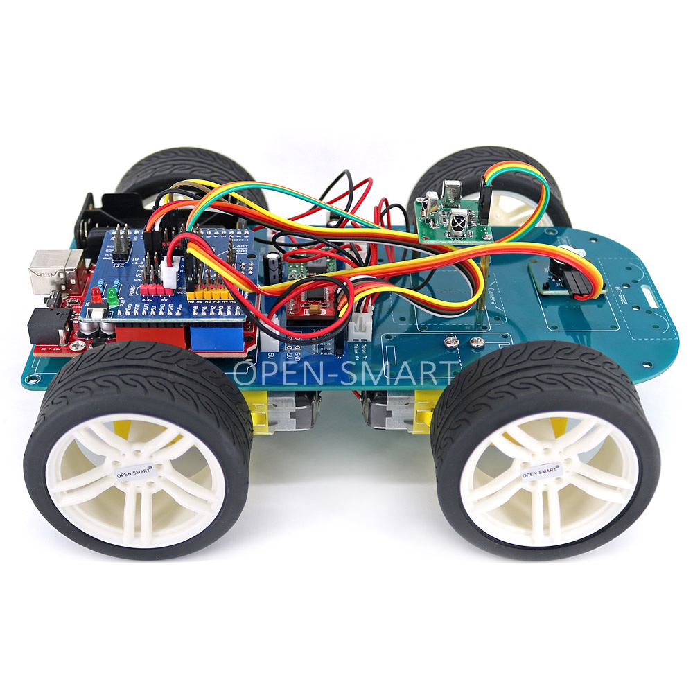 OPEN-SMART 4WD Wireless IR Remote Control Rubber Wheel Gear Motor Smart Car Kit with Tutorial for Arduino UNO R3 Nano Mega2560