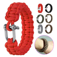 Outdoor Military Survival U Shap Steel Buckle Parachute Cord Rope Bracelets Woven Emergency Bangles  BB55