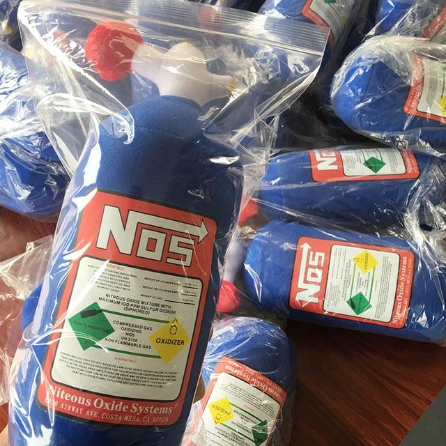 NOS Nitrous Oxide Bottle Soft Pillow Turbo JDM Cushion Car Decor Travel Headrest