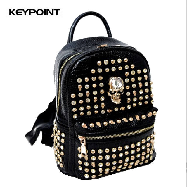 New Fashion Brand Women Bag PU Leather Crystal Studs Rivet Skull School  bags for Girls Teenager mochila feminina Backpack aef609cba7f07