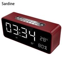 Sardine wireless bluetooth speaker Big LED display alarm clock Portable Stereo Subwoofer Speaker AUX TF USB MP3 player FM Radio