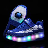Two Wheels Luminous Sneakers USB Charging Led Light Roller Skate Shoes for Children Kids Shoes Boys Girls Shoes Light Up Unisex