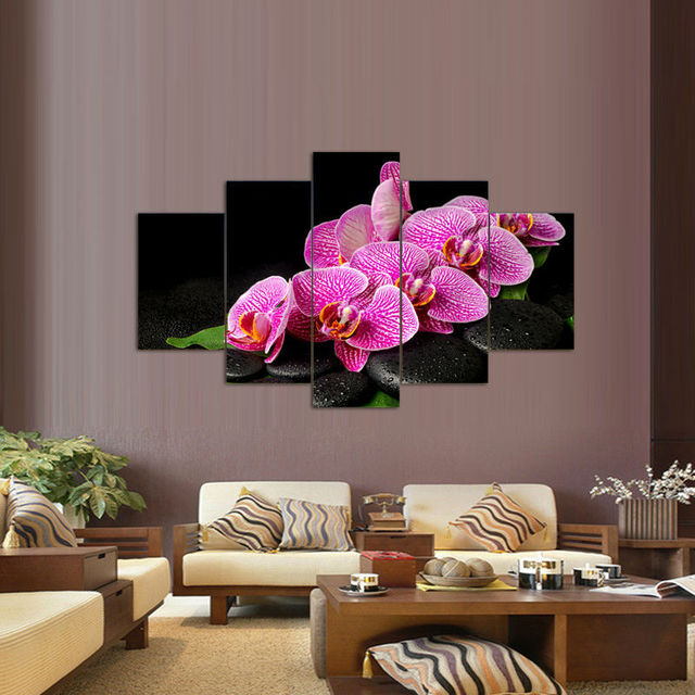 HD Canvas Prints 5 Pieces HD Orichid Flowers Buddha Painting Wall Art Home  Decor Panels Poster For Living Room Frame