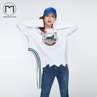 Margin 2017 New Streetwear Women Long Sleeve Female Ribbon Streetshirt Harajuku Ladies Irregular Kawaii Print Basic