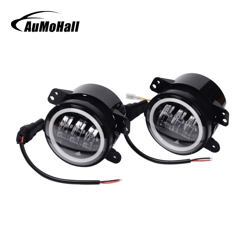 AuMoHall 4 inch Led Front Bumper Fog Light with Angle Eyes 30W Round Driving Lights for Exterior Light 4WD pair 4 inch led fog light projector driving light for 10th anniversary front bumper of jeep wrangler jk 07 front bumper lights