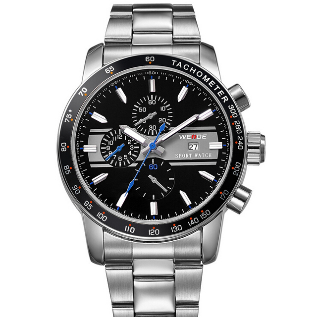 Marca de luxo weide homens relógio de quartzo moda masculina relógios militar de aço inoxidável à prova d' água esportes de negócios relogio masculino