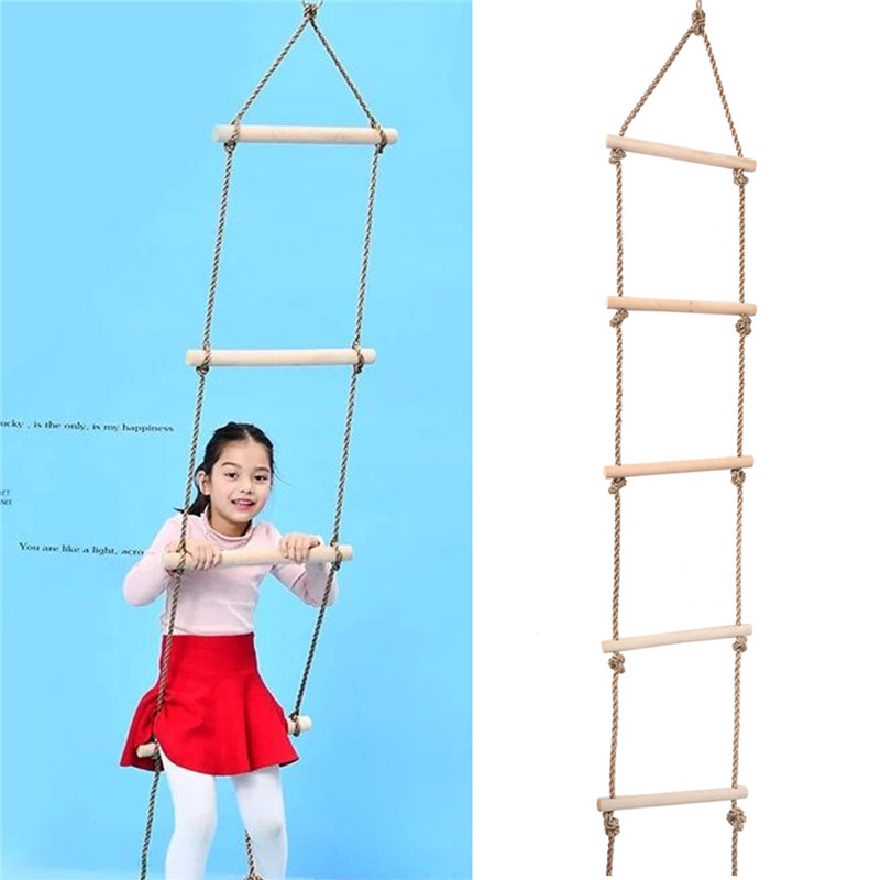 5 Wooden Rungs PE Rope Ladder Children Climbing Toy Kids Sport Rope Swing Safe Fitness Toys Equipment Indoor Outdoor Garden New children toy swing outdoor indoor wood ladder rope playground games for kids climbing rope swing wooden 5 rungs pe rope