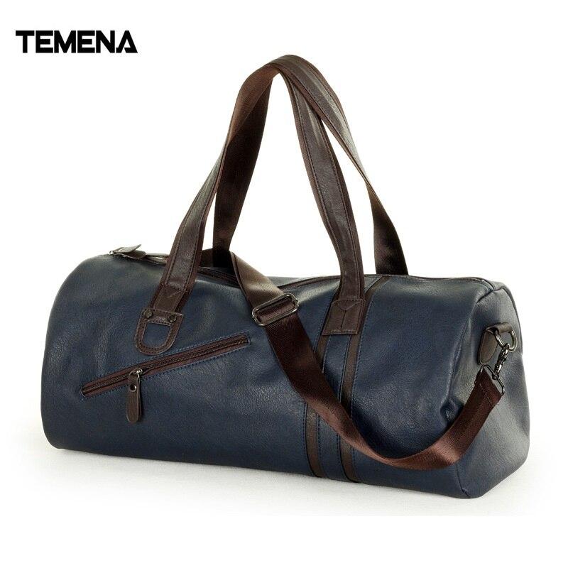 TEMENA PU Leather Gym Bag Large Capacity Sports Bags For Women Men Fitness Training Bag Outdoor Travel Duffel Storage Handbag