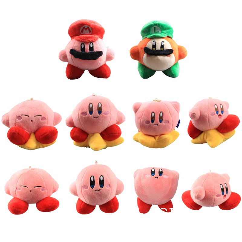 10 Styles Kirby Plush Keychain Cute Lovely Kirby With Mario Cap Kirby With Star Mini Soft Toys Pendant 8-14 CM Baby Toys