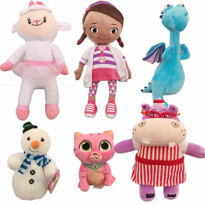 Doc McStuffins Brinquedos de Pelúcia, dottie Lambie ovelhas Dragão Entupido Hallie Hipopótamo Sussurros Gato menina Frio Do Bebê Macia boneca para As Crianças presentes