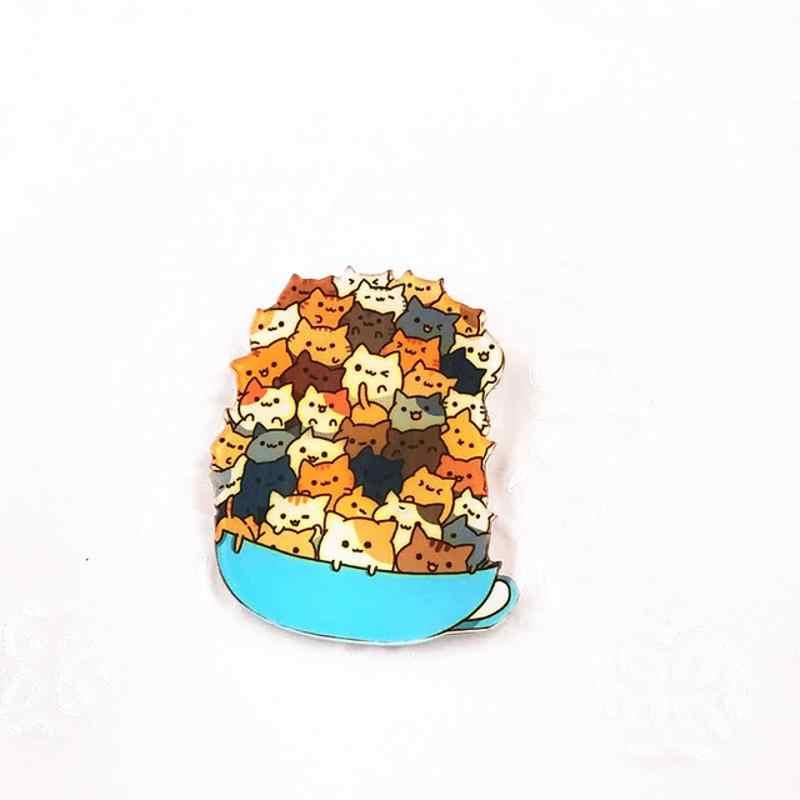 1 adet Harajuku tarzı sevimli karikatür yığılmış kedi akrilik broş rozetleri sırt çantası şapka ayakkabı giyim broş Pins kadınlar için kız 444