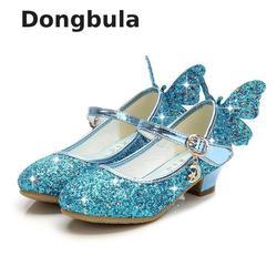 Летние сандалии принцессы на высоком каблуке для девочек; детская обувь; блестящие кожаные туфли с бабочкой для девочек; вечерние туфли; сва...