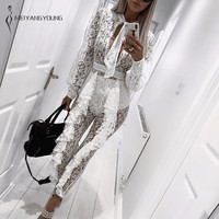 Elegant White Lace Jumpsuit Floral Ruffles Romper Sexy See Through Bodycon Overalls Long Sleeve Evening Party Jumpsuits 2018