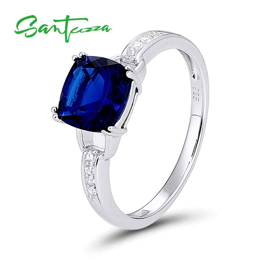 SANTUZZA Silver Rings for Women Engagement Wedding Ring Blue White Cubic Zirconia Rings Pure 925 Sterling Silver Fashion Jewelry