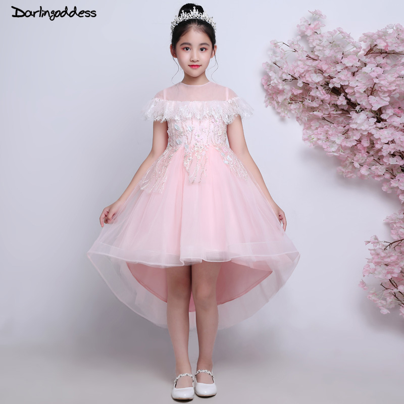 Pink Flower Girl Dresses for Weddings Ball Gown High Low Little Kids Pageant Dress First Communion For Girls Evening