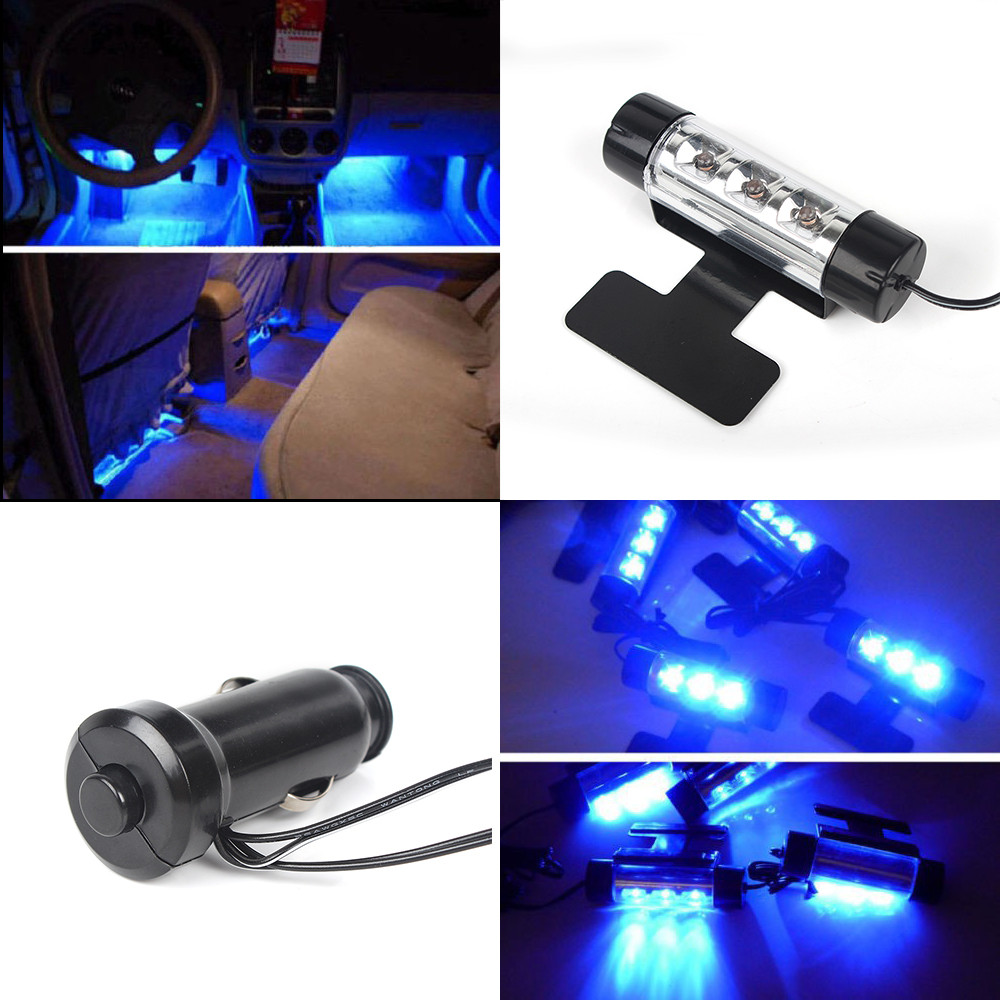 Car Styling 4in1 12V LED Car Charge Interior Decorative