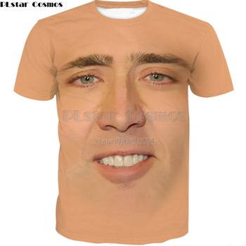PLstar Cosmos 2019 summer Fashion Mens 3d T-shirt The Giant Blown Up Face Of Nicolas Cage Funny Printed Unisex Casual t shirts