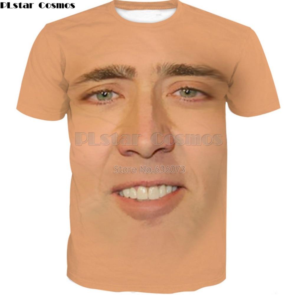 PLstar Cosmos nave de la gota 2018 verano para mujer para hombre Camiseta gigante volado cara de Nicolas Cage 3d imprimir Casual camiseta ad-84